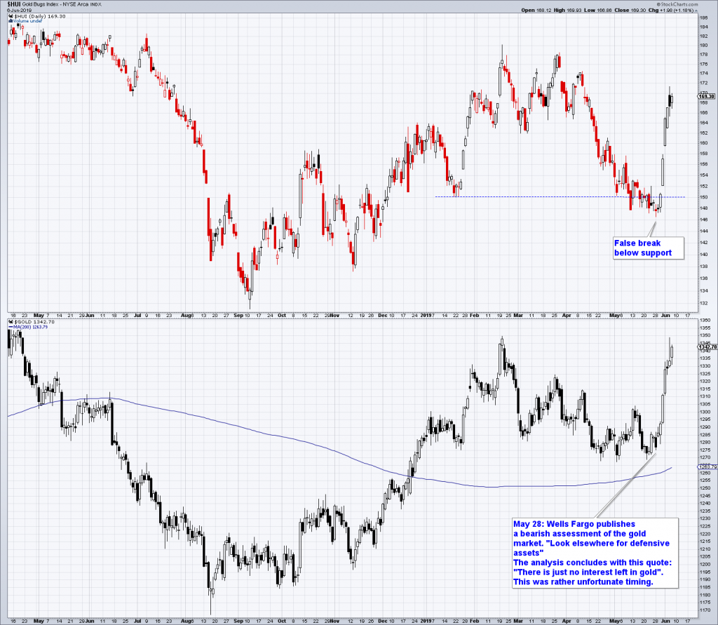 Gold stocks (HUI Index) and gold, daily