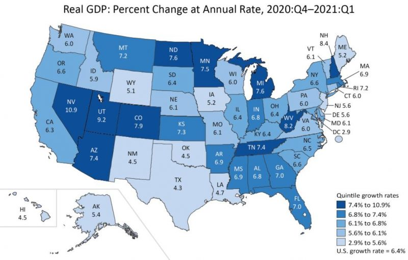 Real GDP: Percent Change at Annual Rate, Q4 2020 - Q1 2021