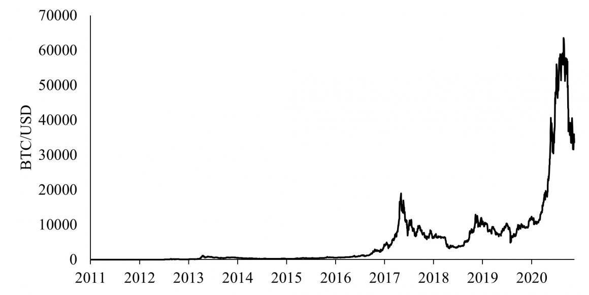 Price of a Bitcoin in US Dollars, 2011 - 2021